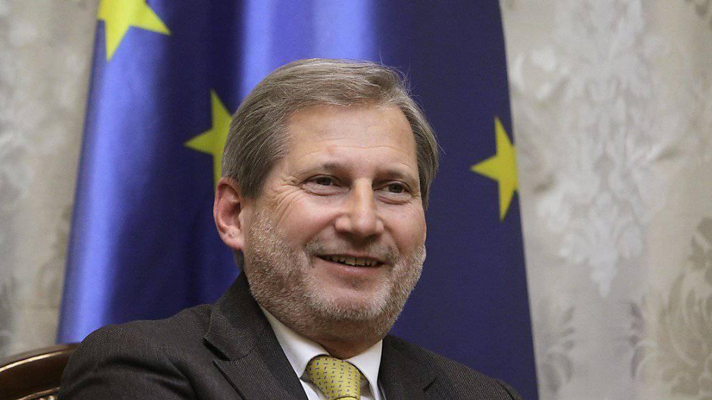 Albanien und Mazedonien haben sich seiner Meinung nach für EU-Beitrittsverhandlungen qualifiziert: EU-Erweiterungskommissar Johannes Hahn. (Archivbild)