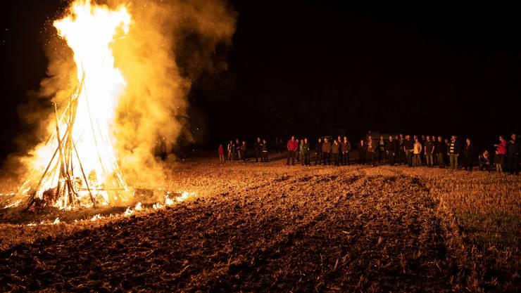 Mit dem Mahnfeuer wollen die Bauern im Gäu gegen den Kulturlandverlust protestieren.