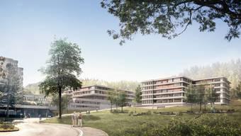 Der Neubau für die Alterspsychiatrie umfasst neben drei Abteilungen mit je 24 Betten ein Ambulatorium, Arbeitsräume und ein Parking mit 35 Plätzen.