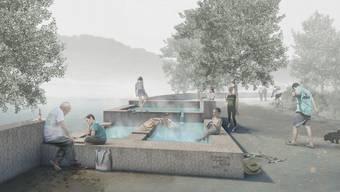 So könnte der öffentlich zugängliche «Heisse Brunnen» im Badener Bäderquartier aussehen.