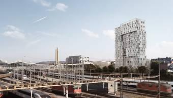 Visualisierung des Meret-Oppenheim-Hochhauses.