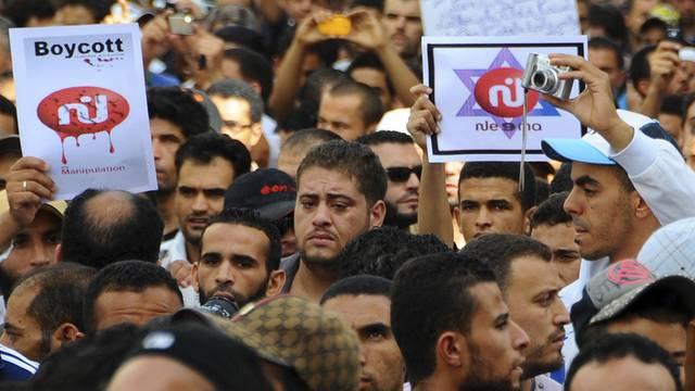 Demonstranten rufen zum Boykott des Privatsenders Nessma TV auf