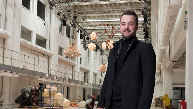 Dine&shine-Geschäftsführer Nicolai Squarra hat in der ehemaligen NZZ-Druckerei nicht nur mit den Deko-Elementen Grosses vor.
