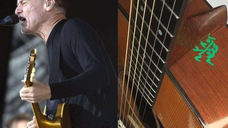 Ein ägyptischer Zollbeamter markierte eine von Bryan Adams' Gitarren kurzerhand mit Filzstift - sehr zum Ärger des Musikers (Bilder Keystone/Instagram Bryan Adams)