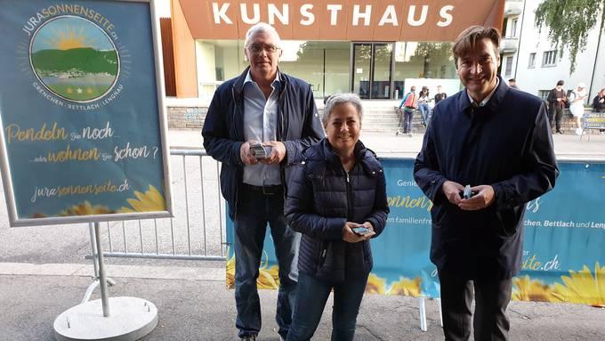 Von links:Max Wolf (Gemeindepräsident Lengnau), Barbara Leibundgut (Gemeindepräsidentin Bettlach), François Scheidegger (Stadtpräsident Grenchen)