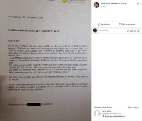 Die Briefe der Schulleitung wurden auf Facebook veröffentlicht.