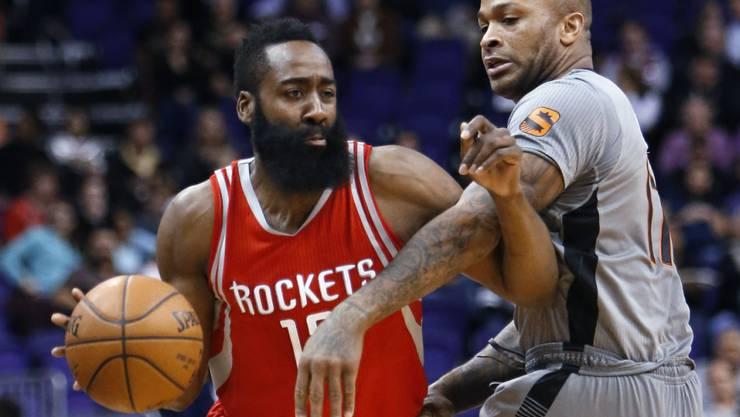 Für einmal alles andere als überragend: James Harden von den Houston Rockets (links)