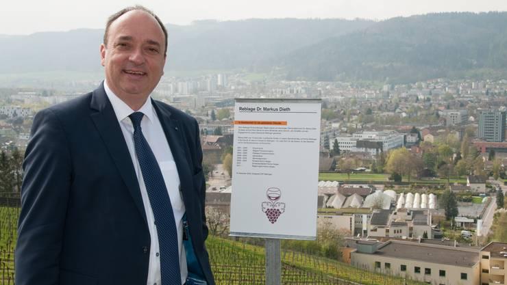 Regierungsrat Markus Dieth. Hier vor seiner Reblage.