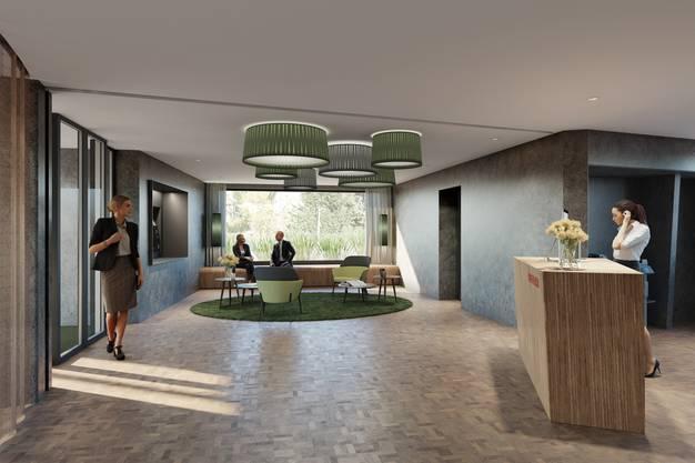 Die Visualisierung zeigt, wie der Innenbereich der Raiffeisenbank in Leuggern nach dem Umbau aussehen könnte. Vorgehen ist ein Umbau zu einer Beraterbank, der Schalter fällt weg.