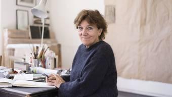 Marlyse Brunner, Künstlerin, porträtiert am 29. März 2019 mit ihrer Kunst in ihrem Atelier in Zürich.