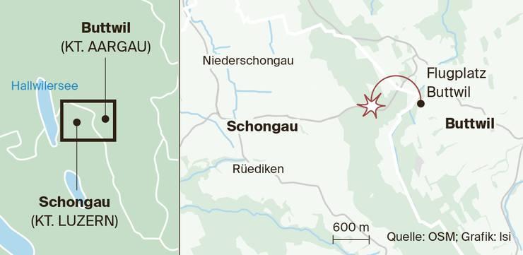 Auf dem Flugplatz Buttwil startete der 78-jährige Schweizer, kurz darauf stürzte er ab.