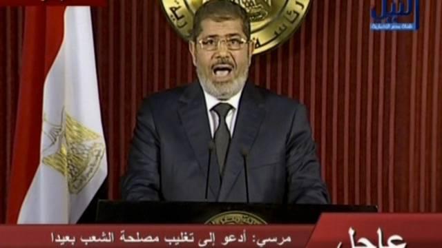 Präsident Mursi bei seiner Fernsehansprache am Donnerstagabend