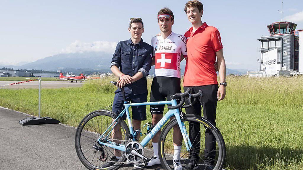 Die drei Schweizer Hoffnungsträger an der Tour de Suisse: Mathias Frank, Silvan Dillier und Stefan Kueng (von links)