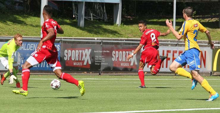 1:0 für den FC Baden durch Luiyi Lugo (2 Tore, links) auf Pass von Marvin Spielmann.