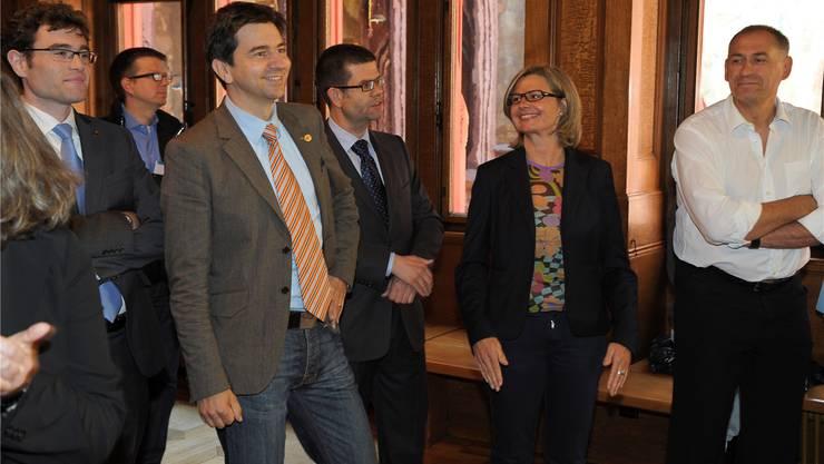 Da war die Welt der GLP noch in Ordnung: Emanuel Ullmann (l.),David Wüest-Rudin (M.) und Martina Bernasconi (r.). (Archiv)