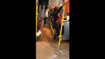 Dieses Video zeigt die Wassermassen im Postauto sehr eindrücklich.