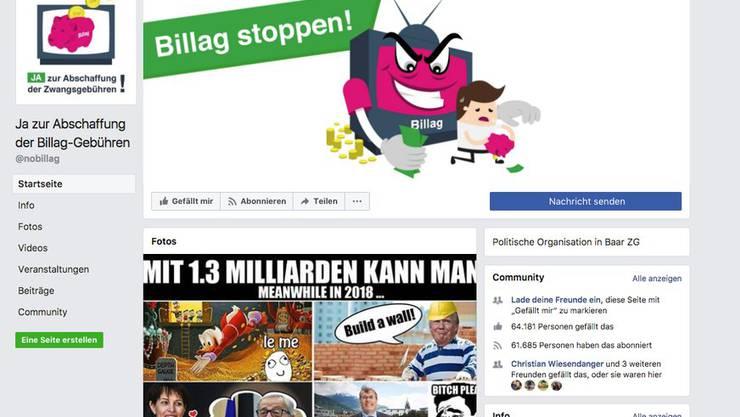 Die Facebook-Seite der No-Billag-Initianten..