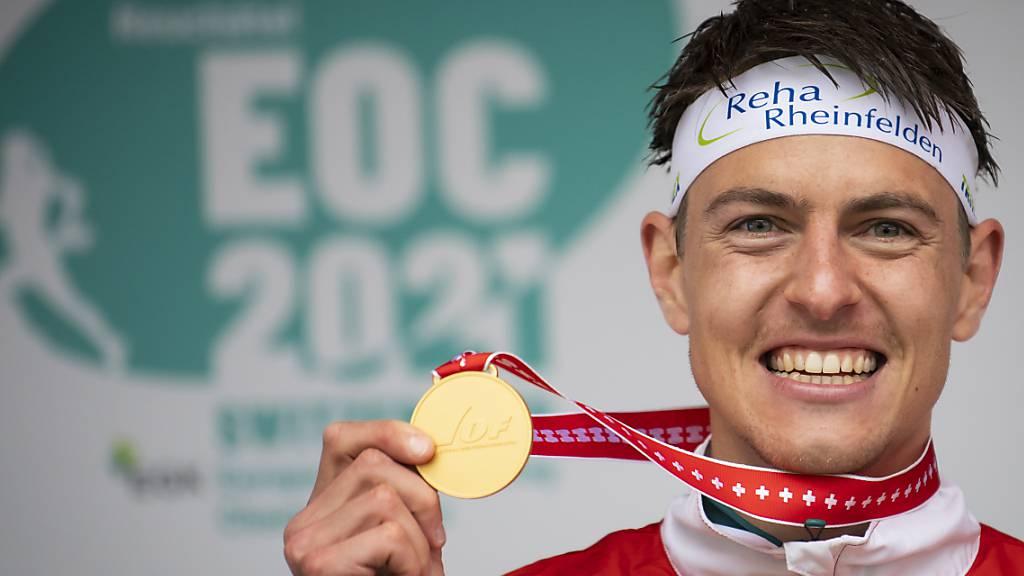Matthias Kyburz: An der EM in Neuenburg im Mai gewann er im K.o.-Sprint Gold (im Bild), nun erhält er auch in Tschechien an der WM eine goldene Medaille.
