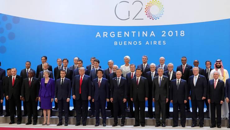 Posieren fürs Gruppenfoto am G20-Gipfel in Buenos Aires.