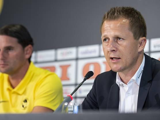 Die sportliche Führung der Young Boys: Sportchef Christoph Spycher (rechts) und Trainer Gerardo Seoane