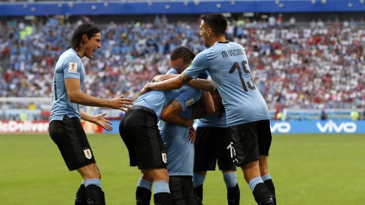 Freudentrubel bei den Uruguay-Spieler.
