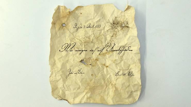 Das historische Schriftstück bezeugt das Remis.
