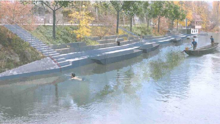 Zwischen Gäubahnbrücke und Pontonierhaus soll ein neuer Uferpfad erstellt werden.