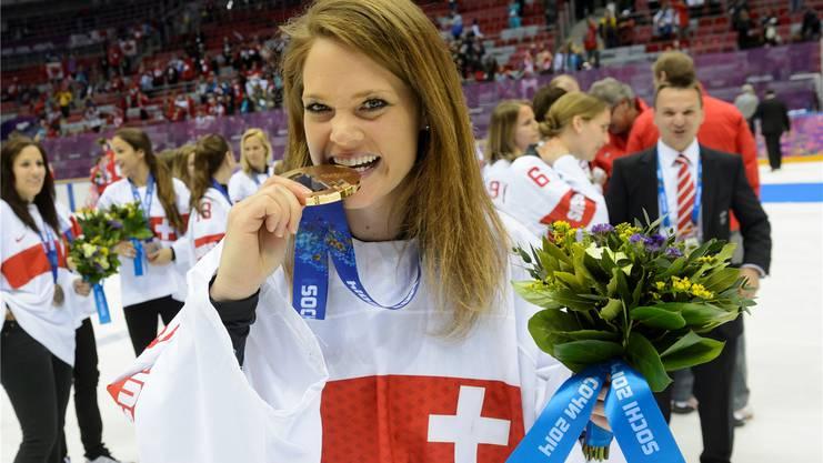 Florence Schelling wurde zur wertvollsten Spielerin des Eishockeyturniers an den Olympischen Winterspielen 2014 in Sotschi gewählt.
