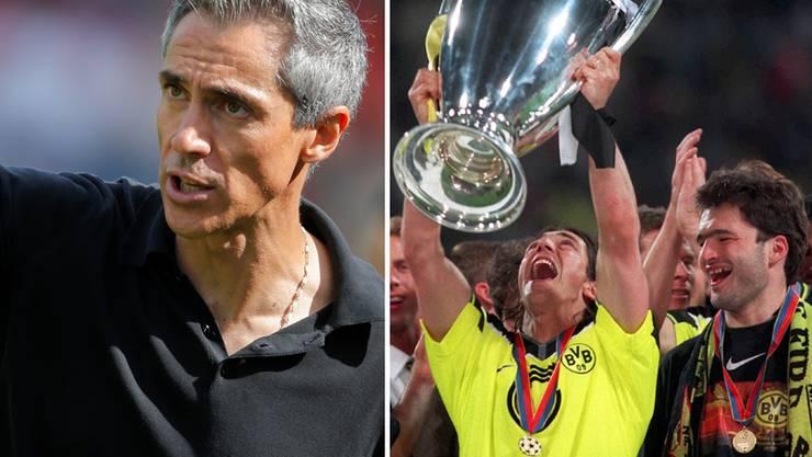 Paulo Sousa: Der FCB-Trainer hatte zu seiner Zeit als Aktiver in Dortmund (r., mit Stéphane Chapuisat) die Chance ausgeschlagen, für Real zu spielen.