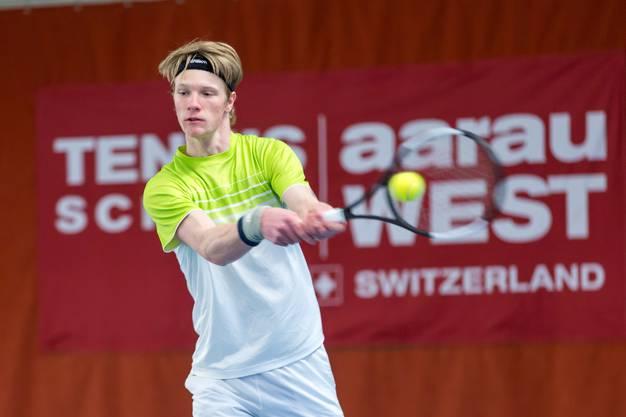 Jonas Schär verlor sein erstes Match im Hauptfeld eines Profiturniers am Tennis Pro-Open Aargau