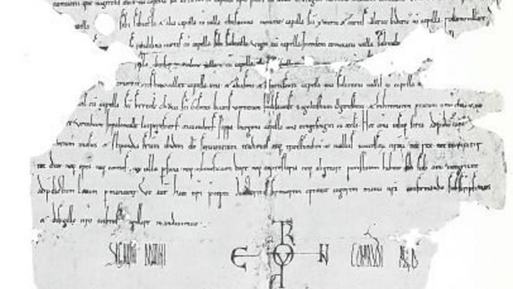 Die erste Erwähnung der Dörfer Palcivalle, Luiperestorf, Mazendorf und oingesingin ist auf der fünfuntersten Zeile dieser Urkunde zu finden.