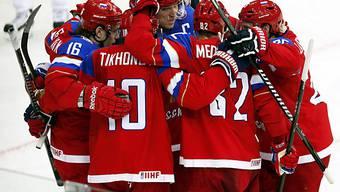 Russland durfte auch gegen Lettland jubeln