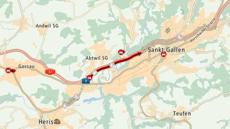 Es staut auf der Stadtautobahn A1 bei St.Gallen.