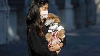 Immer mehr Leute versuchen ihre Haustiere mit Masken vor dem Corona-Virus zu schützen. Doch das bringt nichts, sagen Experten.