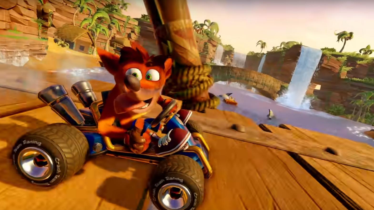 Macht auch 20 Jahre später eine gute Figer: Crash Bandicoot auf dem Kart