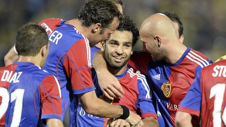Mohamed Salah erzielte in der 21. Minute das 2:0. Der Jubel ist gross.