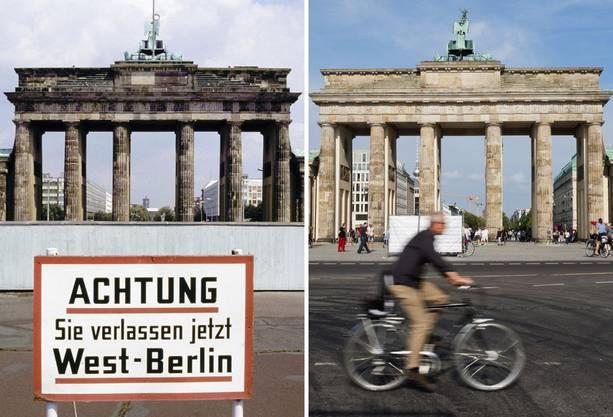 """Die Bildkombo zeigt das Brandenburger Tor in Berlin hinter der Mauer und einem Hinweisschild mit der Aufschrift """"Achtung, Sie verlassen jetzt West-Berlin"""" (Foto vom Juli 1981)"""