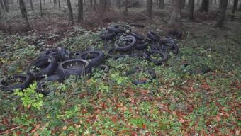 Die deponierten Töffpneus im Wald.