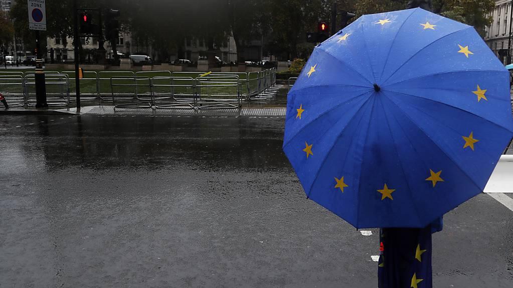 Ein pro-europäischer Demonstrant hält einen Regenschirm in den Farben der Europaflagge und steht vor dem Parlament. EU-Ratschef Michel hat von Großbritannien Klarheit über den anvisierten Handelspakt nach dem Brexit gefordert. Die EU und Großbritannien streiten seit Monaten über die Bedingungen des Vertrags, der die wirtschaftlichen Beziehungen nach der Brexit-Übergangsphase ab 2021 regeln soll. Foto: Frank Augstein/AP/dpa