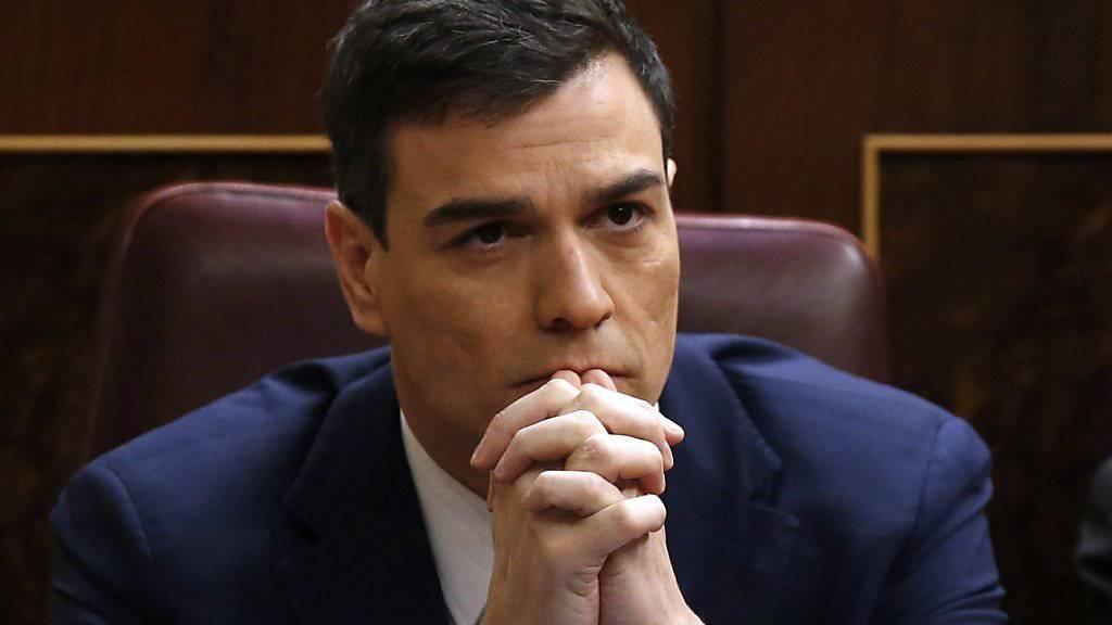 Pedro Sánchez strebt den Posten des Regierungschefs in Spanien an - er dürfte allerdings kaum Chancen haben, da ihm die nötige Mehrheit im Parlament fehlt.