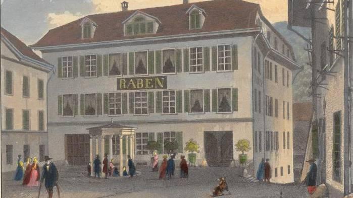 Das «Hôtel du Raben aux eaux thermales de Baden en Suisse» in einem Stich von Johann Mayer-Attenhofer, ca. 1840.