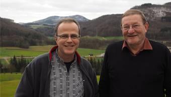 «Die Geselligkeit ist bei uns ebenso wichtig wie das Singen»: Dirigent Matthias Hunziker (links) und Anton Mösch, Präsident des Jodlerklubs Frick. Thomas Wehrli