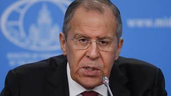 Der russische Aussenminister Sergej Lawrow an seiner jährlichen Medienkonferenz.