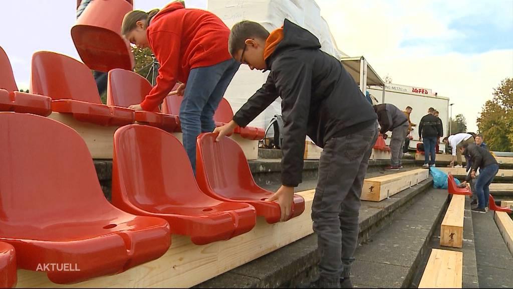 Corona-taugliches Stadion: FC-Aarau-Fans montieren Sitze