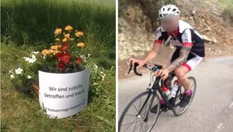 Die Unfallstelle in Böttstein mit der Blumenschale des OKs der Radsporttage Gippingen. Rechts Das tödlich verunglückte Opfer. (Archiv)