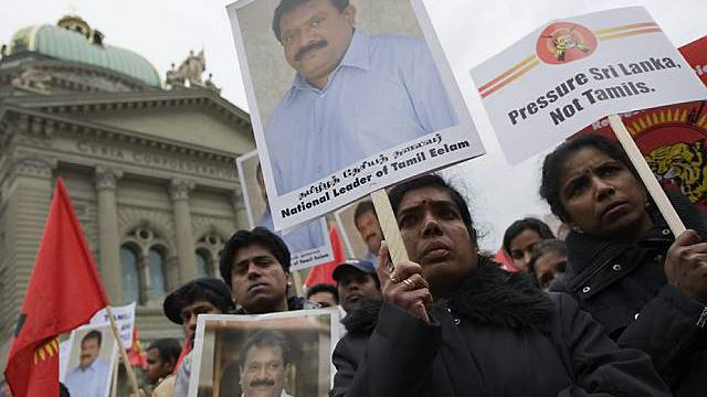 Tamilen protestieren in Bern (Archiv)