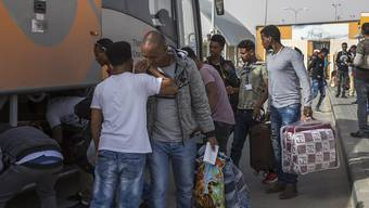 Migranten aus Eritrea verlassen in der Negev-Wüste in Israel eine Haftanstalt für Flüchtlinge, die geräumte werden sollte. (Archivbild)