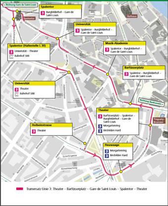 Flyer der BVB zum Tramersatz: