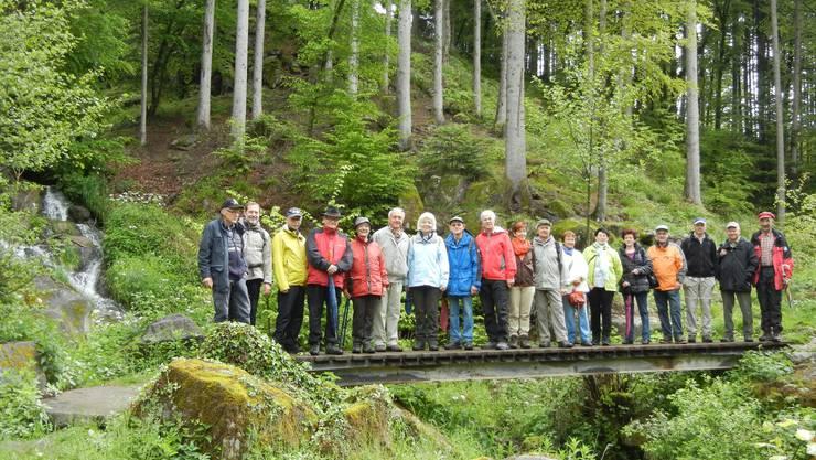 Die Wandergruppe der KKL-Pensionierten vor den Birkinger Wasserfällen