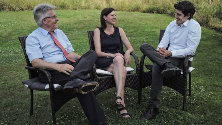 Damals war die Welt der Bürgerlichen noch in Ordnung: SVP-Chef Oskar Kämpfer im Sommer 2014 mit seinen damaligen Amtskollegen Christine Frey (FDP) und Marc Scherrer (CVP). FDP und CVP haben mittlerweile neue Chefs.
